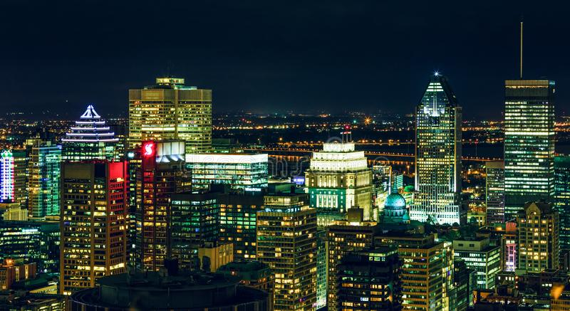 Amazing top view of the Montreal at dusk showing various buildings in the city. Downtown skyscrapers and city skyline at night. royalty free stock image