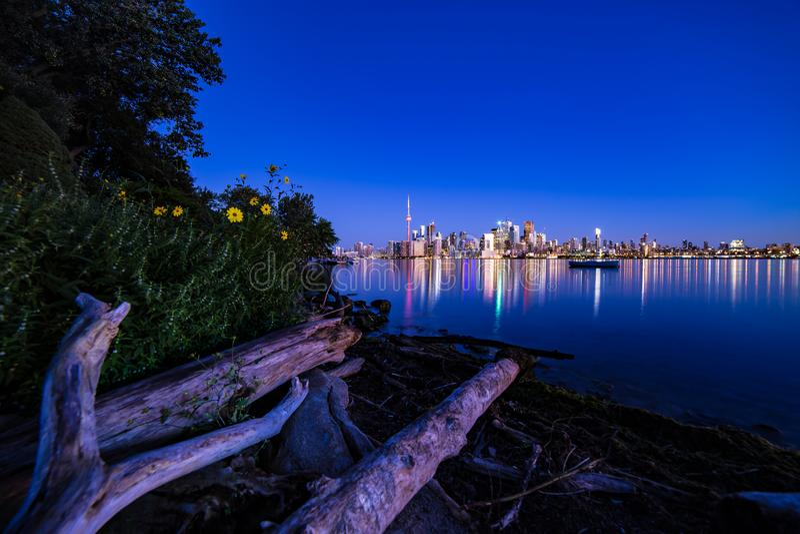 Toronto night city view summer time Ontario Canada stock photography