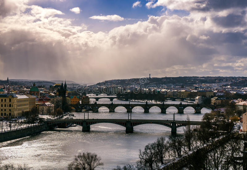 Amazing towers of Charles bridge and old town district with several bridges at Vltava river. Prague, Czech republic royalty free stock photos