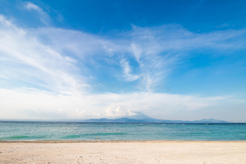 Amazing tropical beach with white sand, blue sky and beautiful ocean. Tropical island Nusa Lembongan, Indonesia. royalty free stock photography