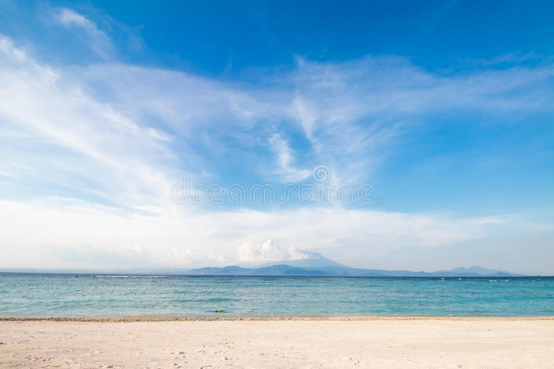 Amazing tropical beach with white sand, blue sky and beautiful ocean. Tropical island Nusa Lembongan, Indonesia. royalty free stock images