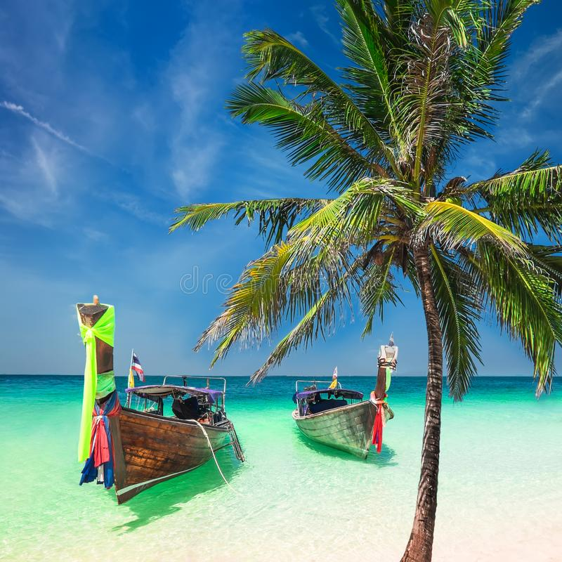 Download Amazing Tropical Beach With Boats And Palm Tree Thailand Stock Photo