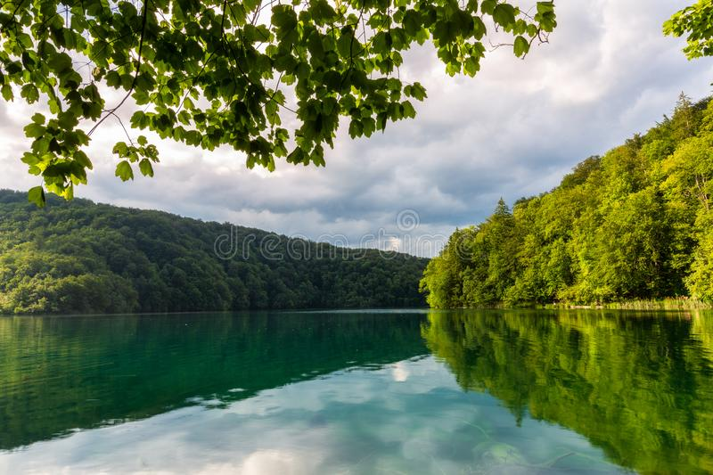 Amazing turquoise lake in Plitvice Lakes National Park stock photos
