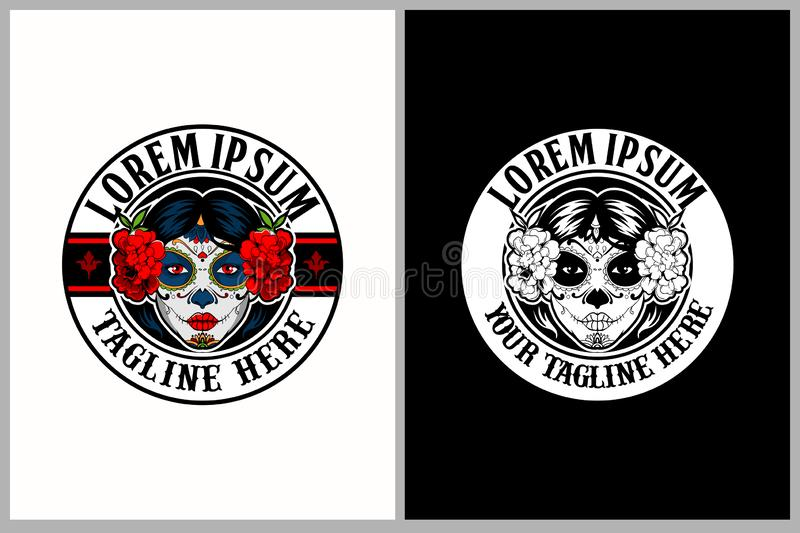 Amazing and unique Calavera Catrina sugar skull female vector logo template. Suiteble for everything printing used royalty free illustration