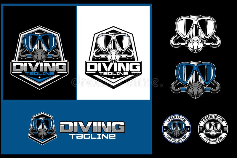 Set of Scuba diving mask vector logo template collection. Amazing and unique set of Scuba diving mask sports vector badge shield and round shape or stamp logo stock illustration