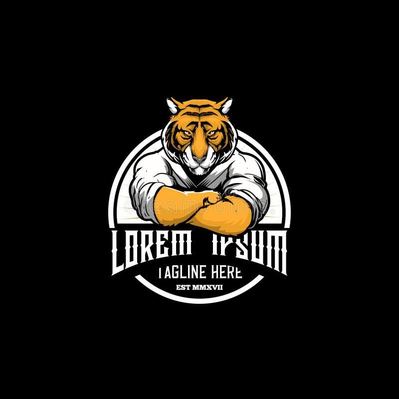 Amazing and unique tiger cartoon martial arts athletes round emblem logo vector template royalty free illustration