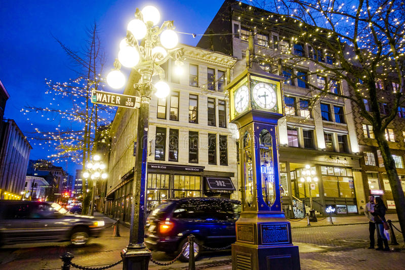 Amazing Vancouver Gastown district at night - the old town - VANCOUVER - CANADA - APRIL 12, 2017. Amazing Vancouver Gastown district at night - the old town stock photography