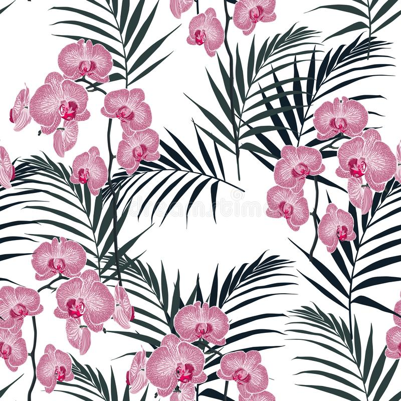 Amazing vector tropical flowers pattern. Seamless design with gorgeous botanical elements. vector illustration
