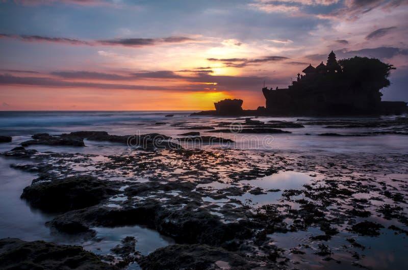 Amazing Sunset at Tanah Lot Bali royalty free stock images