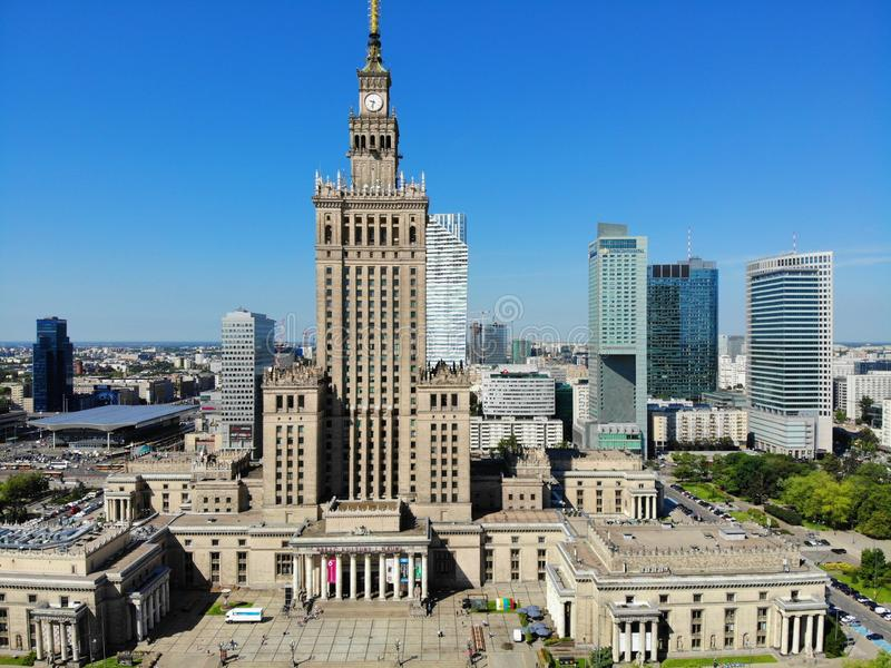Amazing view from above. The capital of Poland. Great Warsaw. city center and surrondings. Aerial photo created by drone. Palace royalty free stock photos