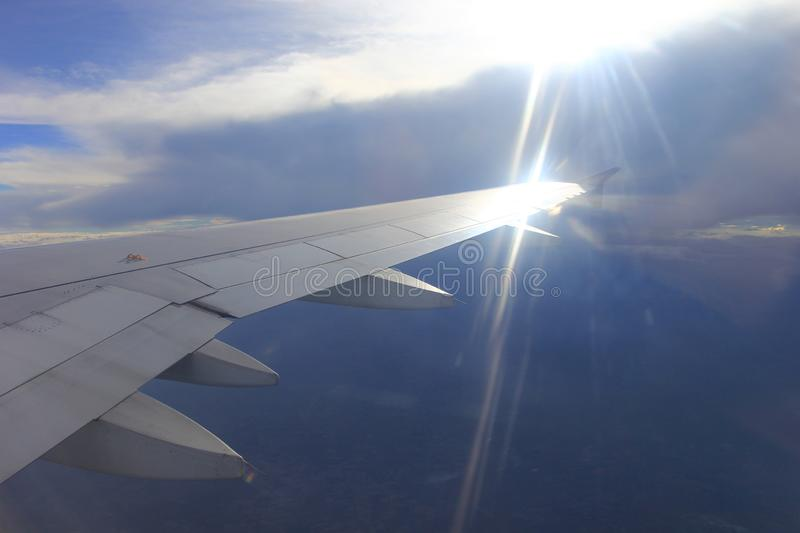 Amazing view from airplane window, Beautiful of Airplane wing wi royalty free stock photography