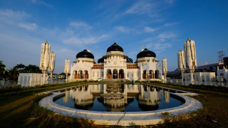The amazing view of Baiturrahman Grand Mosque, Aceh, Indonesia. royalty free stock photo