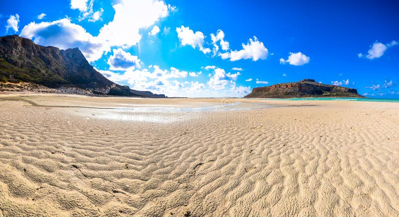 Amazing view of Balos Lagoon with magical turquoise waters, lagoons, tropical beaches of pure white sand and Gramvousa island. stock photo