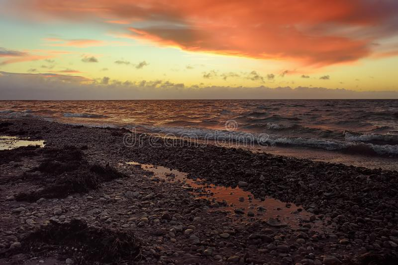 Amazing view of Baltic Sea coast on sunset of winter day royalty free stock photo