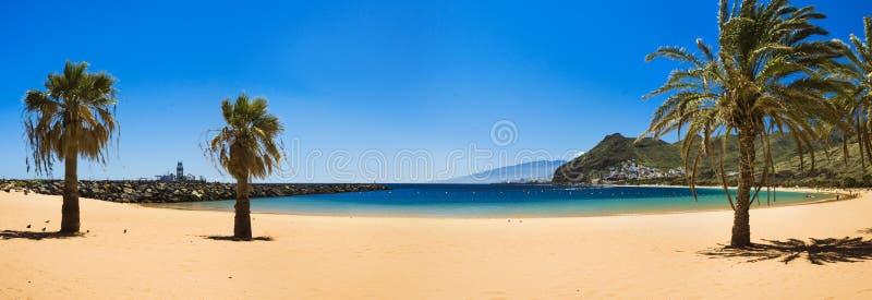 Amazing view of beach las Teresitas Tenerife. Amazing view of beach las Teresitas with yellow sand. Location: Santa Cruz de Tenerife, Tenerife, Canary Islands royalty free stock image