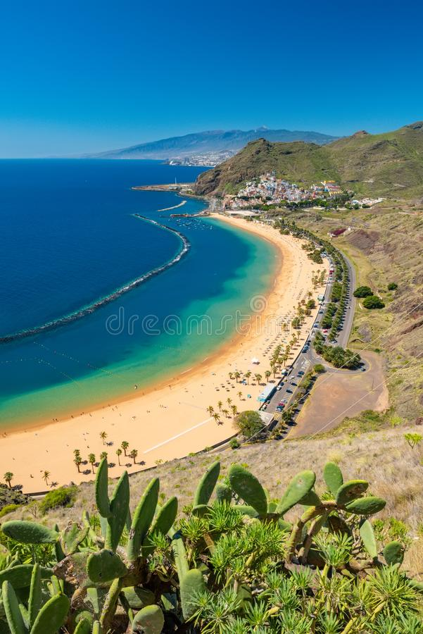 Amazing view of beach las Teresitas Tenerife. Amazing view of beach las Teresitas with yellow sand. Location: Santa Cruz de Tenerife, Tenerife, Canary Islands stock photography