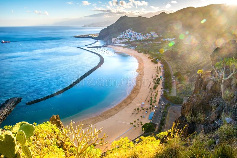 Amazing view of beach las Teresitas with yellow sand. Location: Santa Cruz de Tenerife, Tenerife, Canary Islands. Artistic picture. Beauty world stock photography