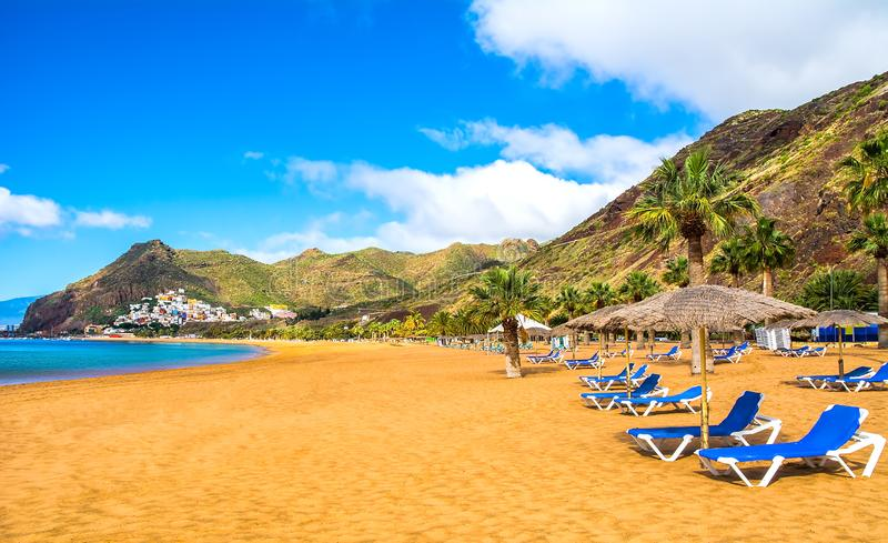 Amazing view of beach las Teresitas with yellow sand. Location: Santa Cruz de Tenerife, Tenerife, Canary Islands. Artistic picture. Beauty world stock image