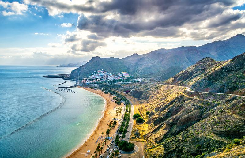 Amazing view of beach las Teresitas with yellow sand. Location: Santa Cruz de Tenerife, Tenerife, Canary Islands, Spain. Artistic royalty free stock images