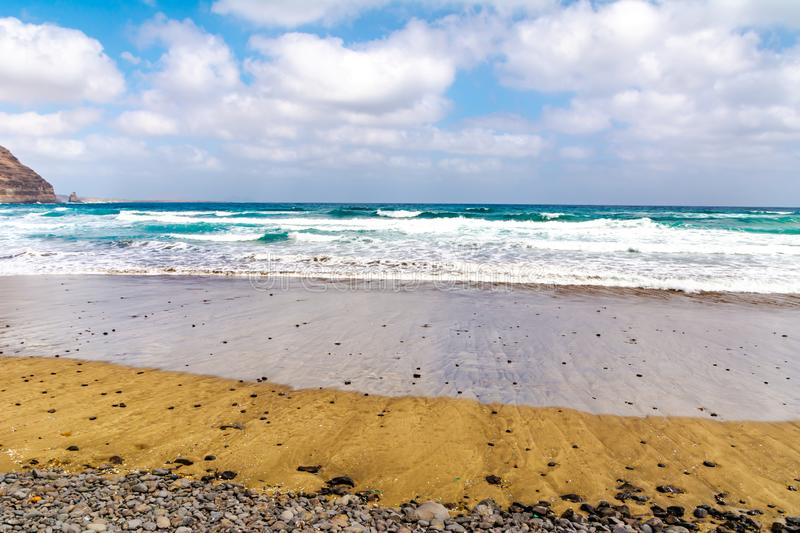 Amazing view of beautiful beach and atlantic ocean. Location: Lanzarote, Canary Islands, Spain. Artistic picture. Beauty world royalty free stock image