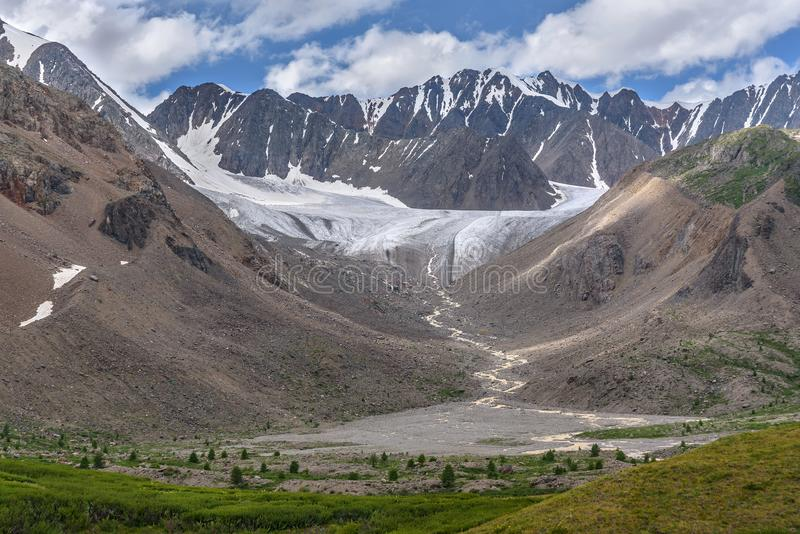 Glacier mountains river trees summer royalty free stock images
