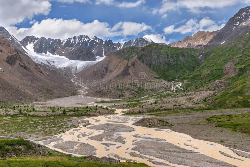 Glacier mountains river trees summer royalty free stock image