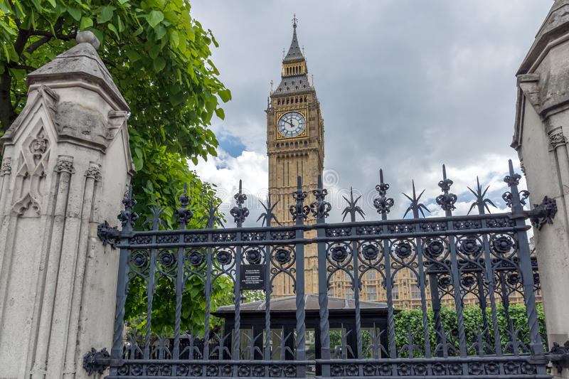 Amazing view of Big Ben from Parliament Square Garden, London, England. United Kingdom stock photos
