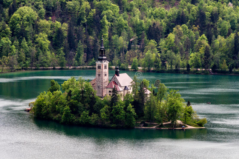 Amazing View On Bled Lake, Island,Church And Castle With Mountain Range (Stol, Vrtaca, Begunjscica) In The. Background-Bled, Slovenia, Europe stock image