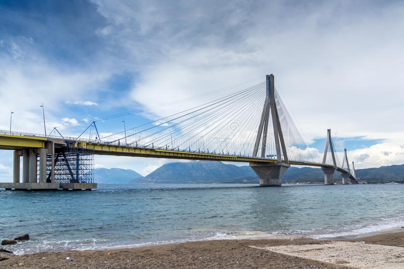 Amazing view of The cable bridge between Rio and Antirrio, Patra, Greece. Amazing view of The cable bridge between Rio and Antirrio, Patra, Western Greece royalty free stock photography