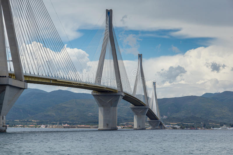 Amazing view of The cable bridge between Rio and Antirrio, Patra, Greece. Amazing view of The cable bridge between Rio and Antirrio, Patra, Western Greece stock photography