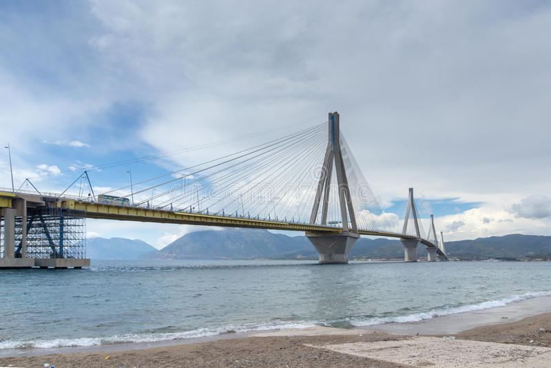 Amazing view of The cable bridge between Rio and Antirrio, Patra, Greece. Amazing view of The cable bridge between Rio and Antirrio, Patra, Western Greece stock photo