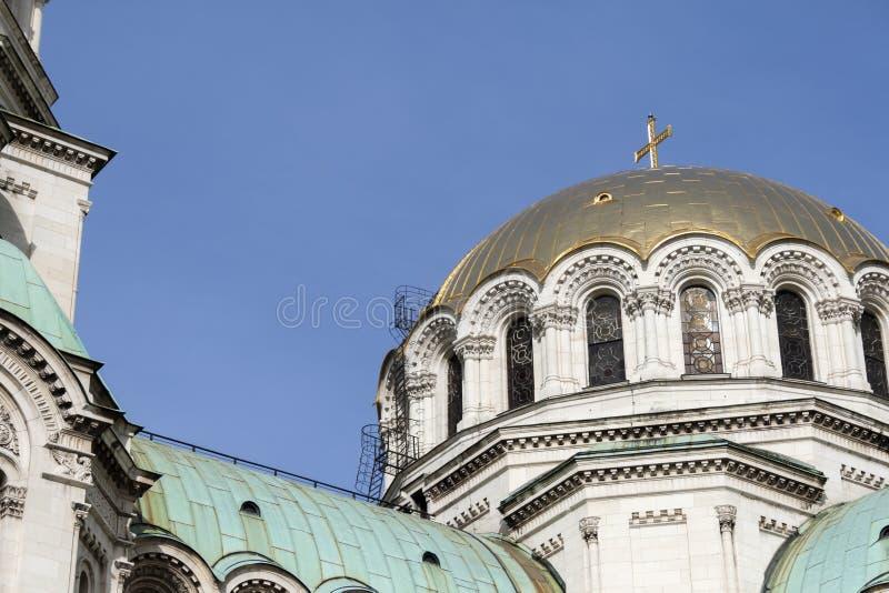 Amazing view of Cathedral Saint Alexander Nevski in Sofia, Bulgaria. SOFIA, BULGARIA - MARCH 7, 2019: Amazing view of Cathedral Saint Alexander Nevski in Sofia stock photography