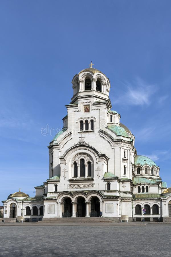 Amazing view of Cathedral Saint Alexander Nevski in Sofia, Bulgaria. SOFIA, BULGARIA - MARCH 7, 2019: Amazing view of Cathedral Saint Alexander Nevski in Sofia stock image