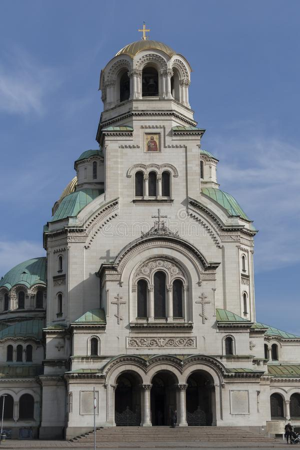 Amazing view of Cathedral Saint Alexander Nevski in Sofia, Bulgaria. SOFIA, BULGARIA - MARCH 7, 2019: Amazing view of Cathedral Saint Alexander Nevski in Sofia stock photo