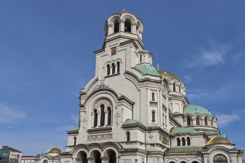 Amazing view of Cathedral Saint Alexander Nevski in Sofia, Bulgaria. SOFIA, BULGARIA - MARCH 7, 2019: Amazing view of Cathedral Saint Alexander Nevski in Sofia stock photos