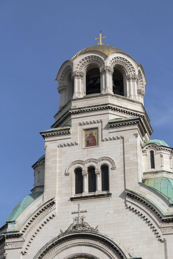 Amazing view of Cathedral Saint Alexander Nevski in Sofia, Bulgaria. SOFIA, BULGARIA - MARCH 7, 2019: Amazing view of Cathedral Saint Alexander Nevski in Sofia royalty free stock image