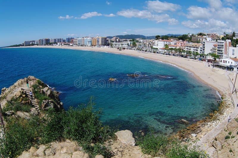 Amazing view of city , beach and sea. Blanes, Costa Brava, Catalonia, Spain stock photos