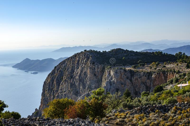An amazing view of the coast of Turkey, in the foreground is a very beautiful rock at sunset, stock photos