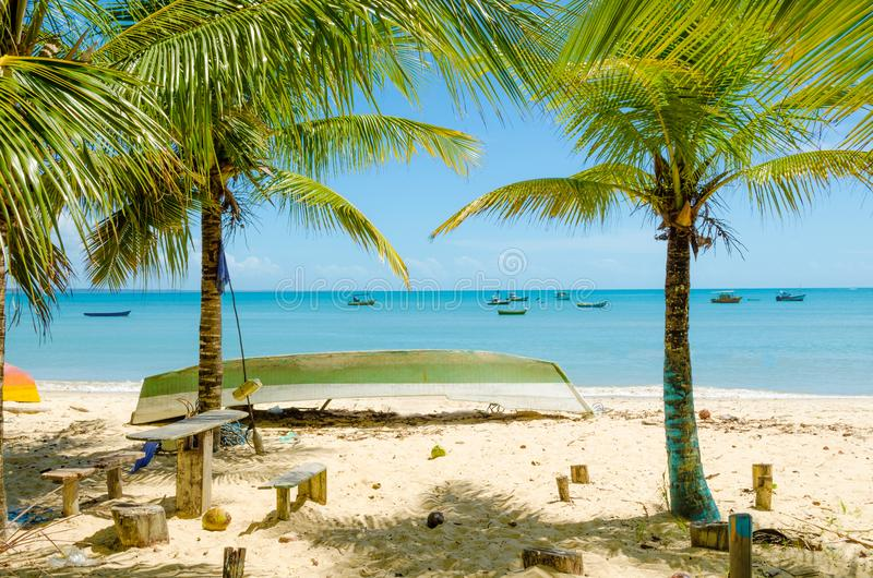 Amazing view of Coroa Vermelha beach in Porto Seguro in Brazil. Relaxing view with coconut trees, canoe, boats stock photography
