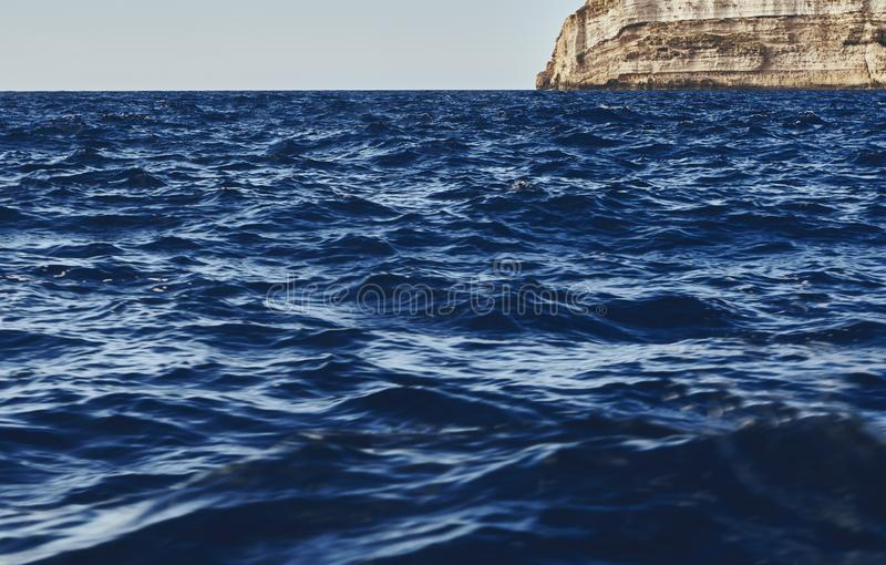 Amazing view of the dark blue waves royalty free stock image