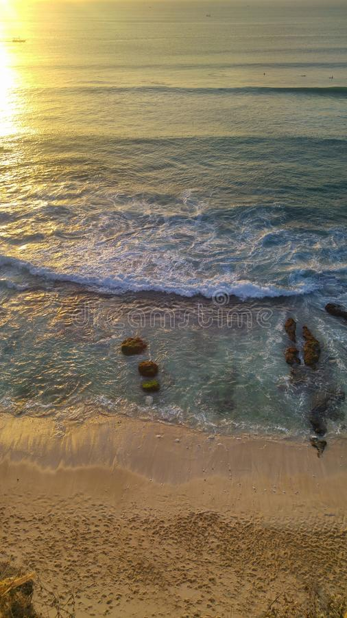 Sunset view from Dreamland beach in Bali royalty free stock image