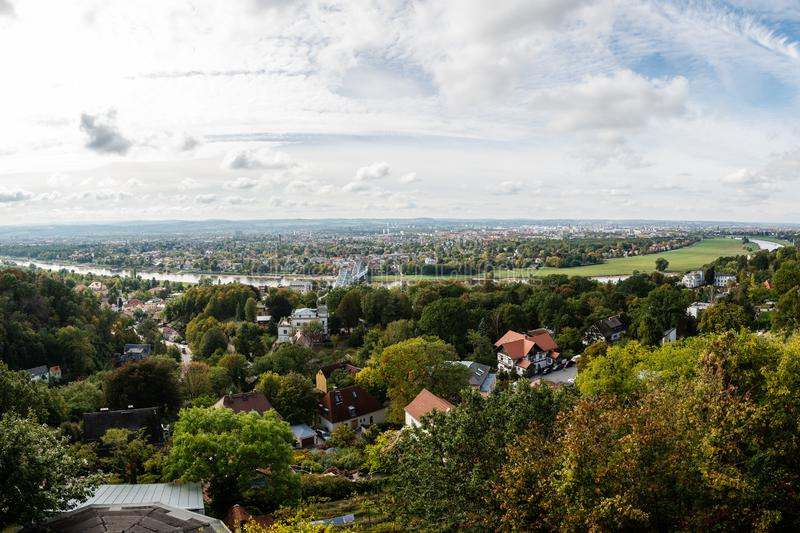 View of Dresden landscape from the top. Amazing view of Dresden landscape from the top under the blue sky royalty free stock image