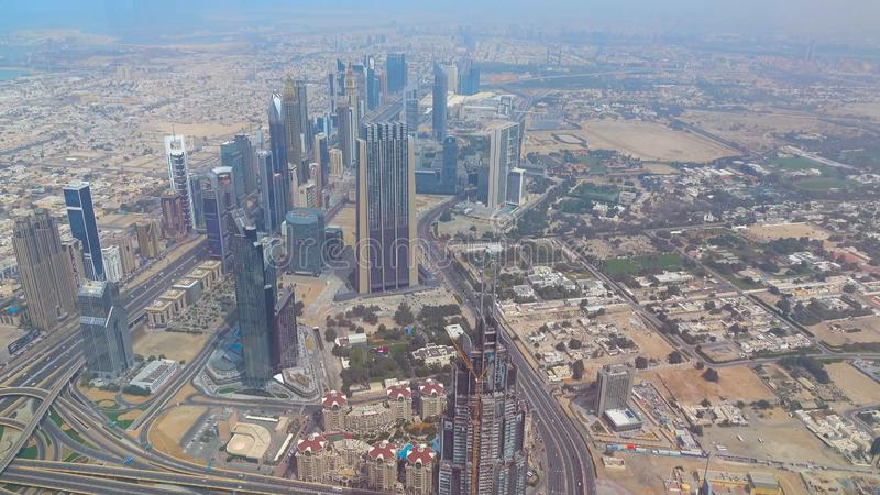 Amazing view on Dubai futuristic skyline . Dubai, UAE - city of skylines, aerial view royalty free stock photography
