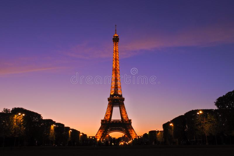 Amazing view on an Eiffel Tower stock images