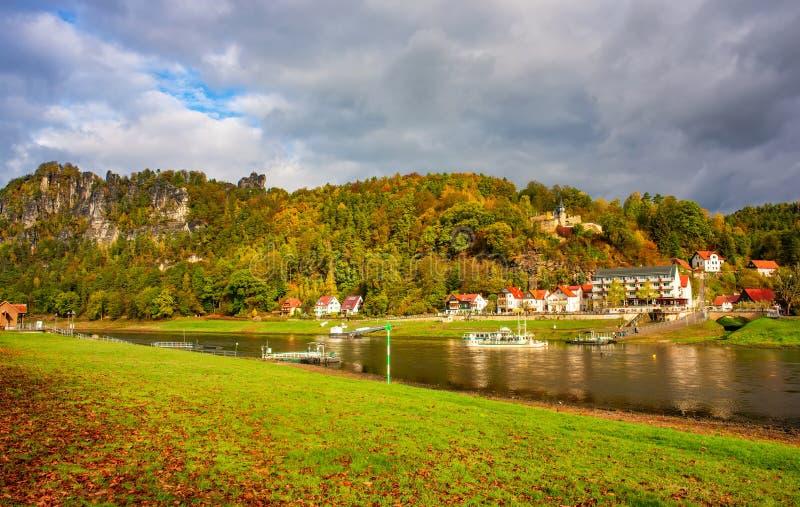 Amazing view of Elbe riversides in Elbe Sandstone mountains, resort Rathen, Saxon Switzerland, Germany at autumn day. Amazing view of Elbe riverside in Elbe royalty free stock photography