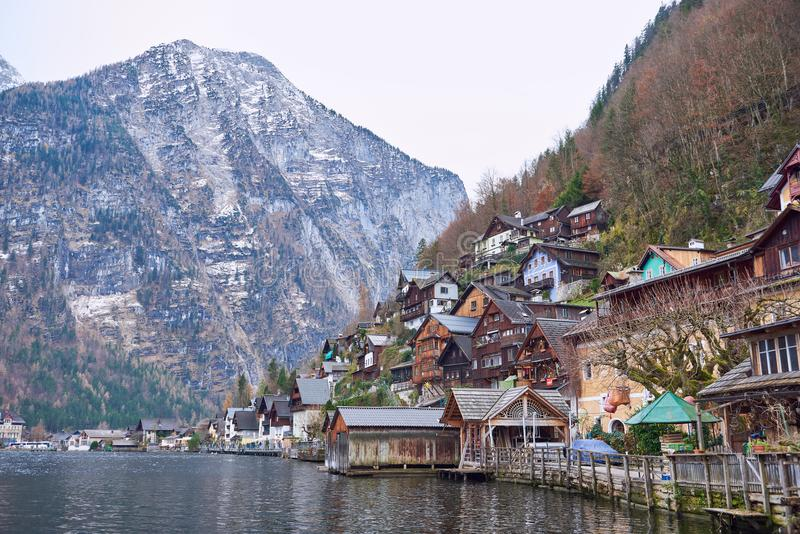 Amazing view of famous Hallstatt mountain village in the Austrian Alps. Hallstatt, Austria. Neutral colors in autumn.  stock image