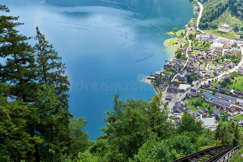 Amazing view of famous Hallstatt mountain village in the Austrian Alps. Hallstatt, Austria. Neutral colors. View from the mountain.  stock images