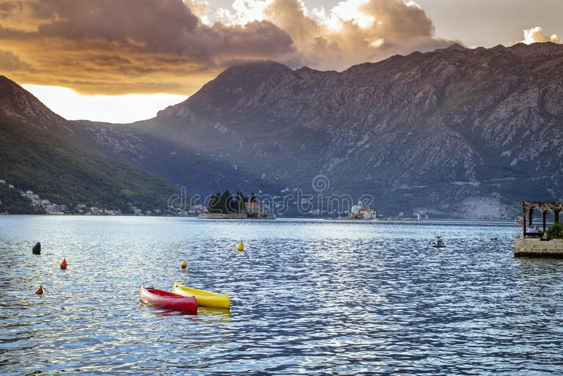 Amazing view on Fjord on the Kotor`s bay near Petrovac. Montenegro. royalty free stock photo