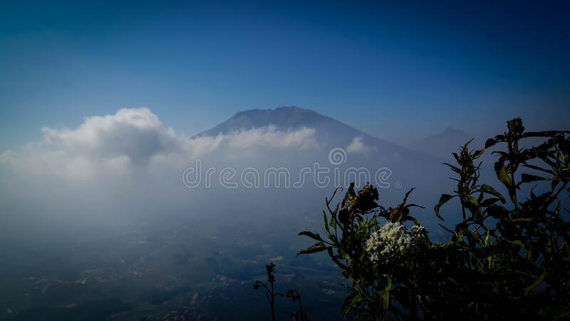 Amazing view on the hill. Beautiful scenery for climbers on Andong Peak in Magelang District, Central Java, Indonesia stock image