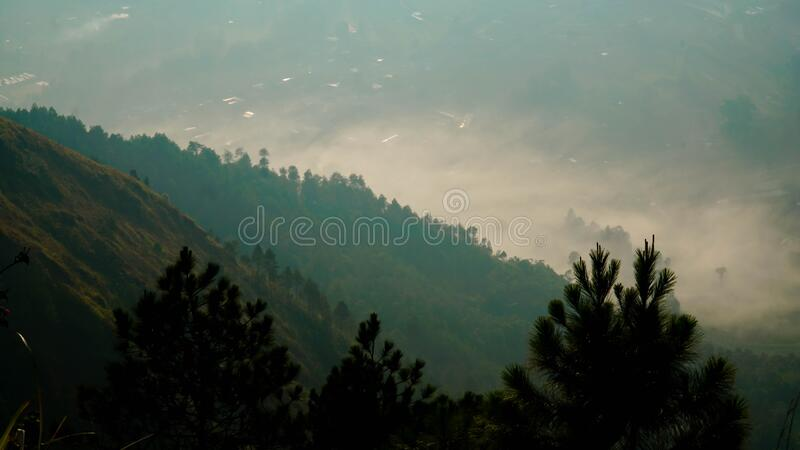 Amazing view on the hill. Beautiful scenery for climbers on Andong Peak in Magelang District, Central Java, Indonesia stock photos